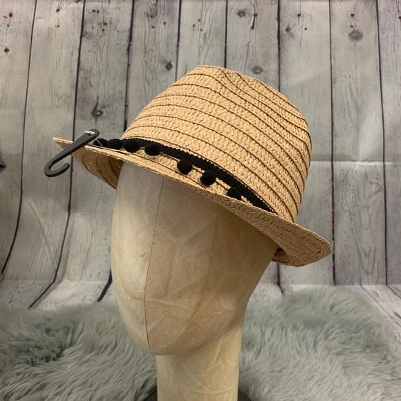 f861cb10085 Accessories | Small Black Pom Pom Straw Fedora Sun Hat | Poshmark